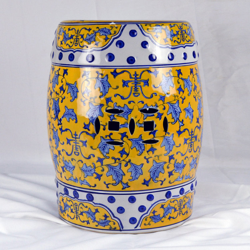 "Furniture - 17"" Chinese Round Porcelain Garden Stool With Blue Leaves In Yellow"