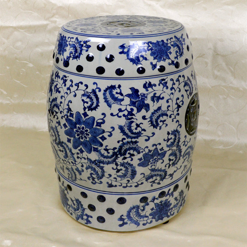 "Furniture - 17"" Chinese Round Porcelain Garden Stool With Floral And Decorative Design"
