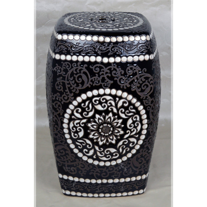 "Furniture - 19"" Chinese Square Porcelain Garden Stool In Black With Recessed Patterns"