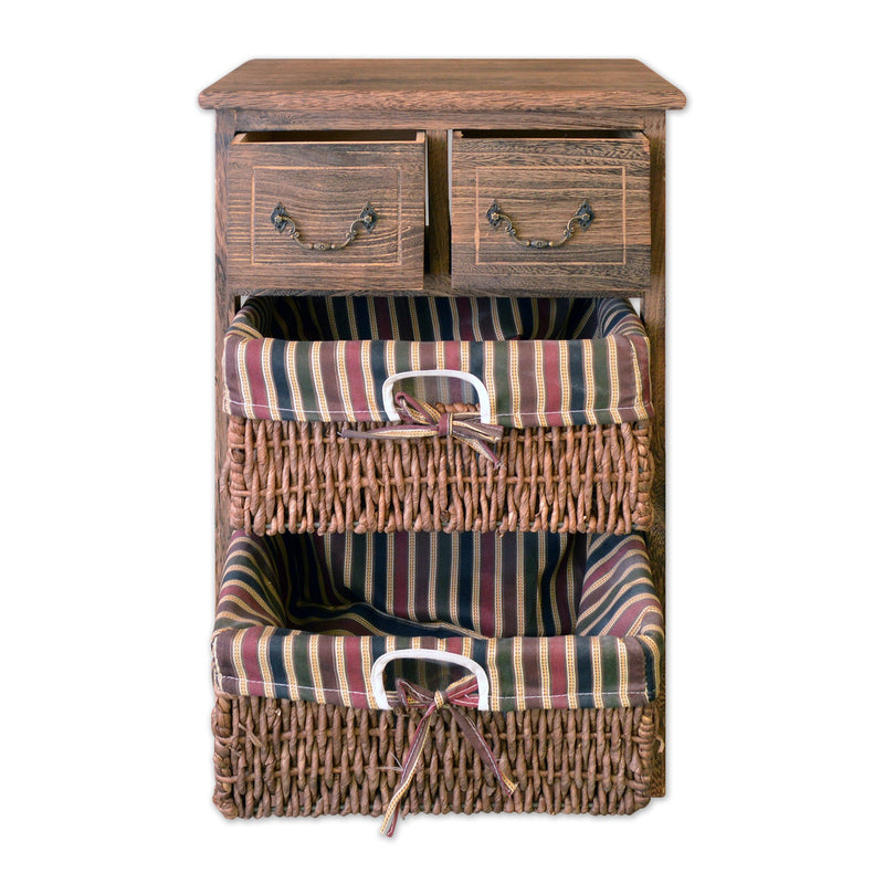 "Furniture - 22"" Wooden 3 Tier Storage Unit With 2 Drawers And 2 Rattan Baskets In Antique Walnut Finish"