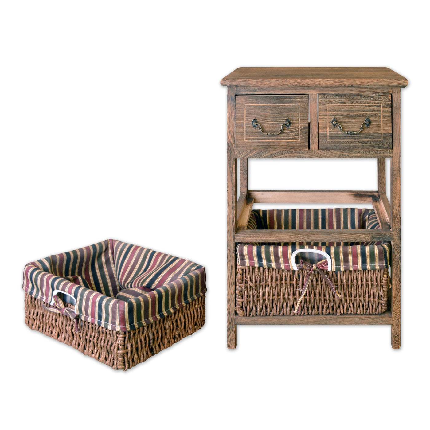 ... Furniture - 22  Wooden 3 Tier Storage Unit With 2 Drawers And 2 Rattan Baskets ...  sc 1 st  Homenique.net & 3 Tier Storage Unit with 2 Drawers u0026 2 Wicker Baskets - 22