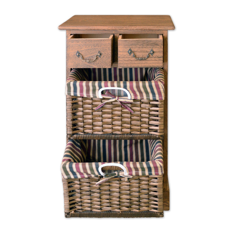 "Furniture - 25"" Wooden Storage Unit With 2 Drawers And 2 Rattan Baskets In Antique Walnut Finish"