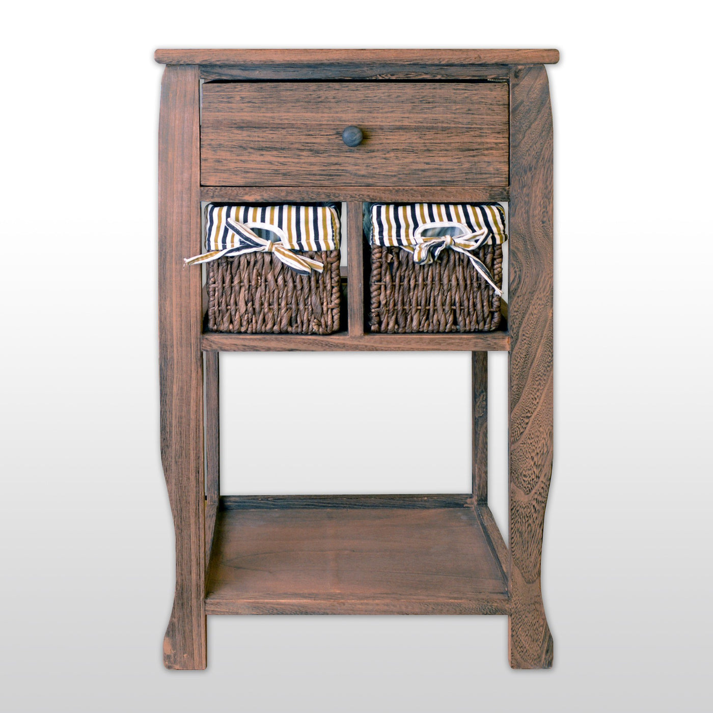 Wood Nightstand With 1 Drawer 2 Wicker Baskets 26 Tall In Antique Walnut Finish