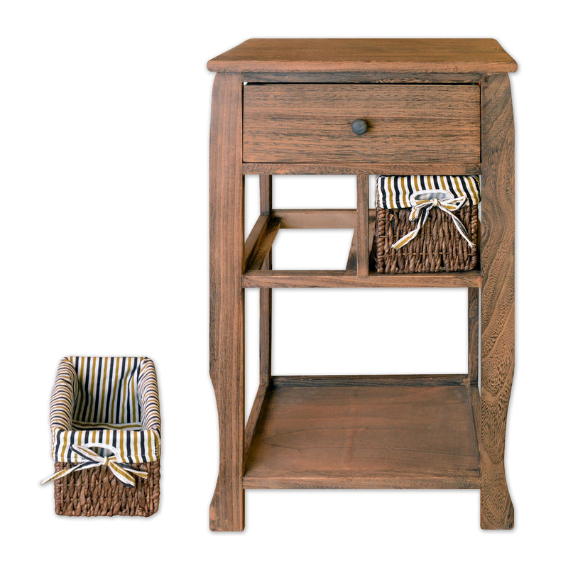 "Furniture - 26"" Wooden Nightstand With 1 Drawer And 2 Rattan Baskets In Antique Walnut Finish"