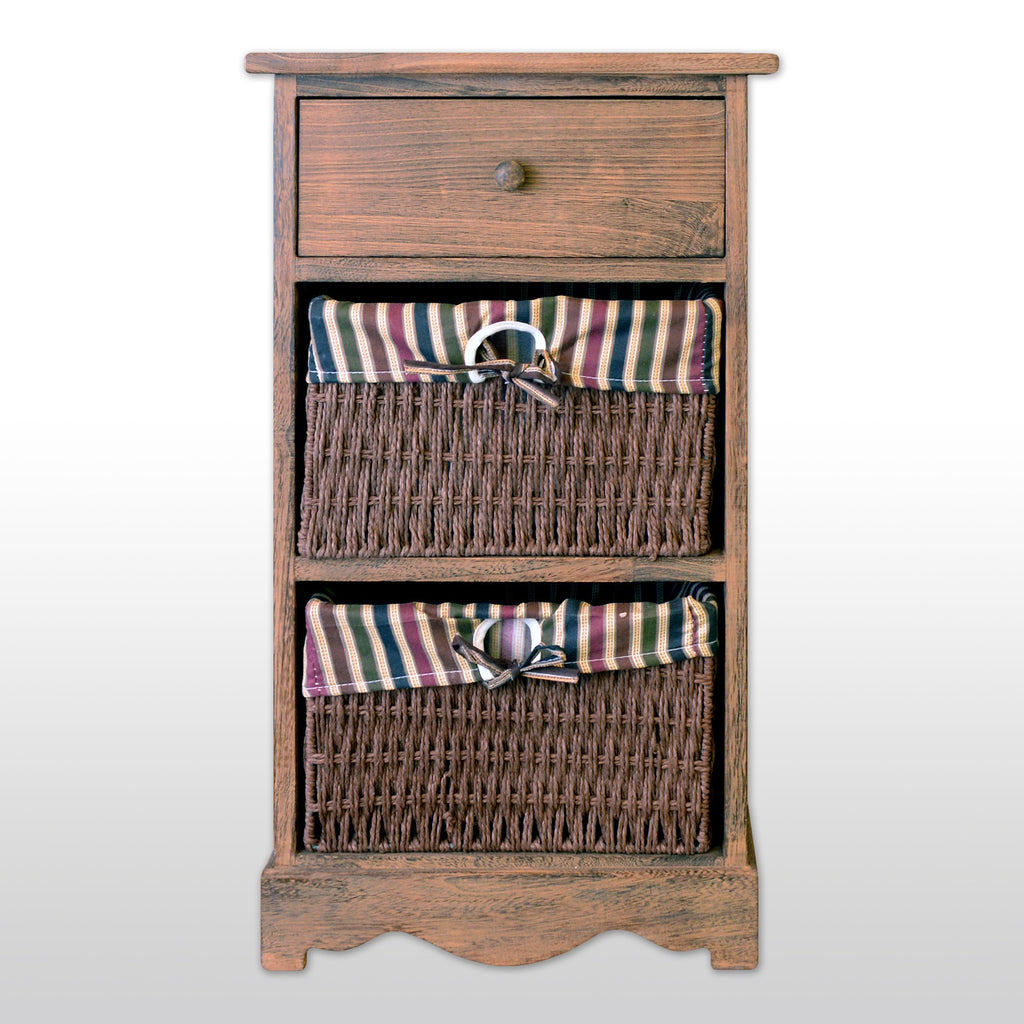 "Furniture - 27"" Wooden Storage Unit With 1 Drawer And 2 Rattan Baskets In Antique Walnut Finish"