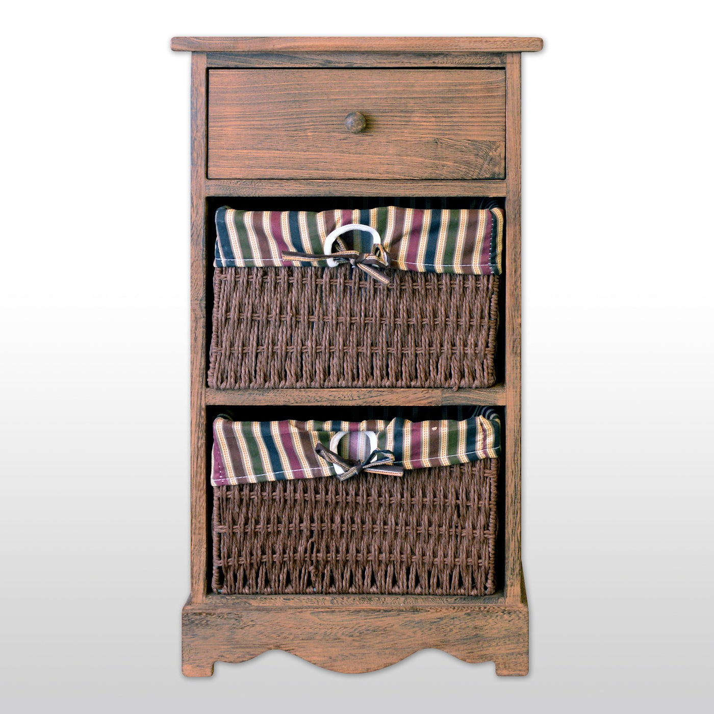 3 Tier Storage Unit With 1 Drawer 2 Wicker Baskets 27 Tall In