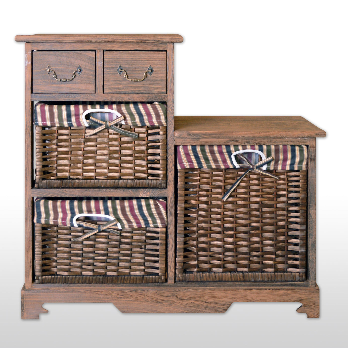 Storage Cabinet With 2 Drawers 3 Wicker Baskets 28 Tall In Antique Walnut Finish