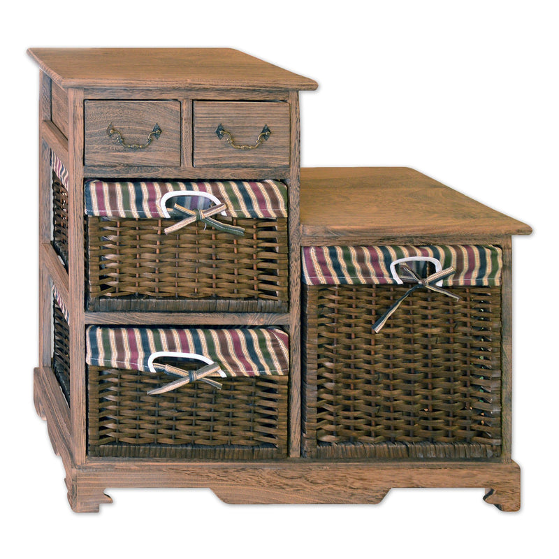 Storage Cabinet With 2 Drawers Amp 3 Wicker Baskets 28