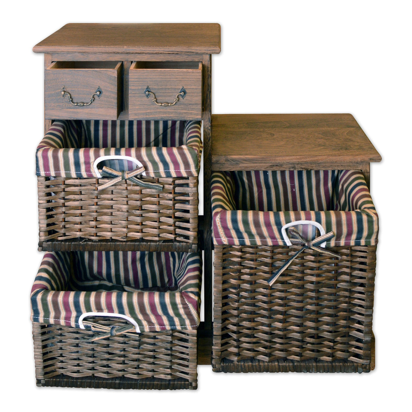 ... Furniture - 28  Wooden Storage Cabinet With 2 Drawers And 3 Rattan Baskets In Antique ...  sc 1 st  Homenique.net & Storage Cabinet with 2 Drawers u0026 3 Wicker Baskets - 28