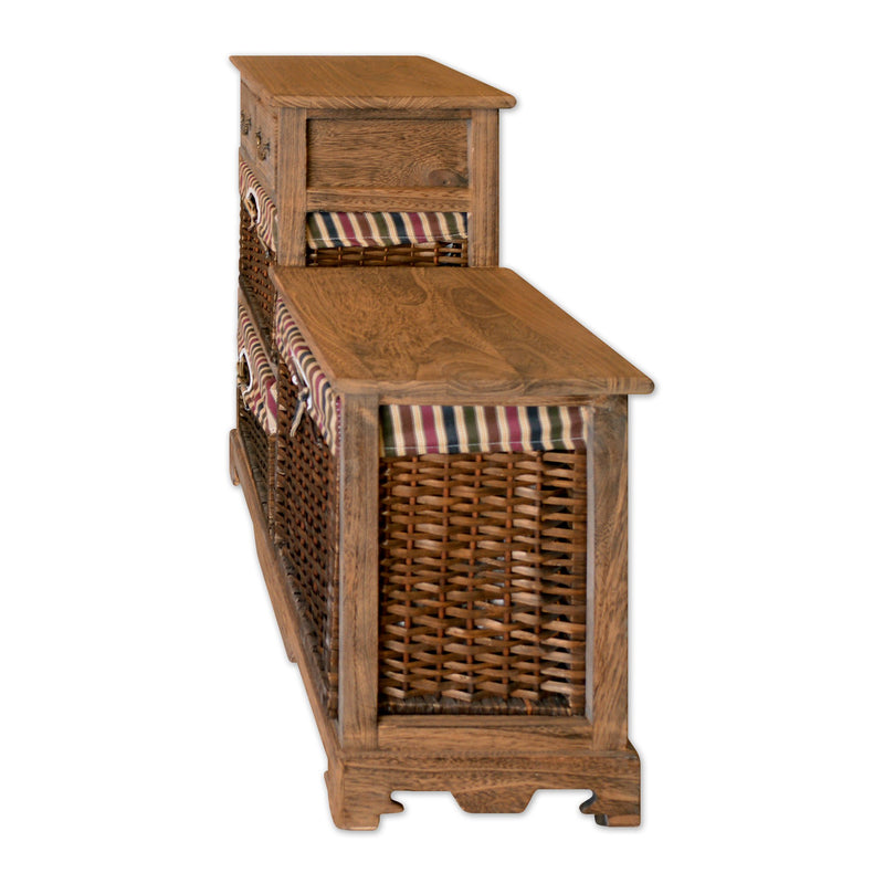 "Furniture - 28"" Wooden Storage Cabinet With 2 Drawers And 3 Rattan Baskets In Antique Walnut Finish"