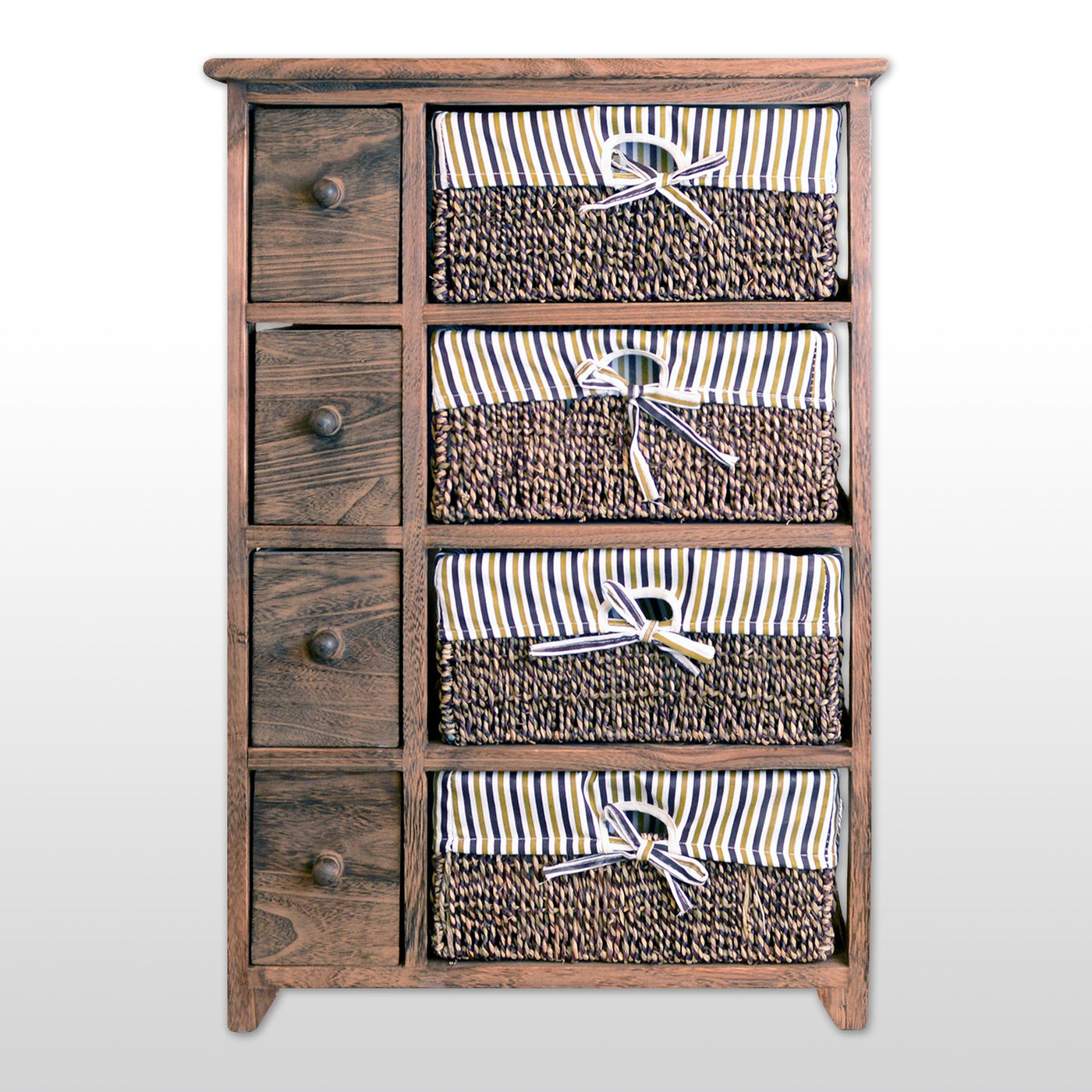 Storage Cabinet With 4 Drawers 4 Wicker Baskets 29 Tall In Antique Walnut Finish