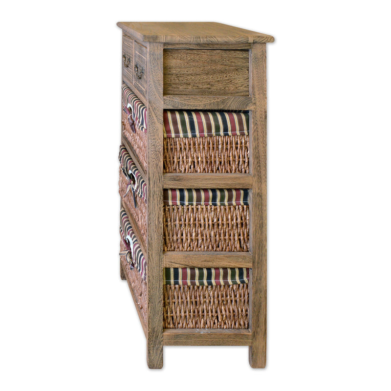 "Furniture - 29"" Wooden Standing Cabinet With 2 Drawers And 3 Rattan Baskets In Antique Walnut Finish"