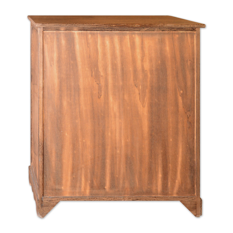 "Furniture - 32"" Wooden Cabinet With 2 Doors And 2 Rattan Baskets In Antique Walnut Finish"