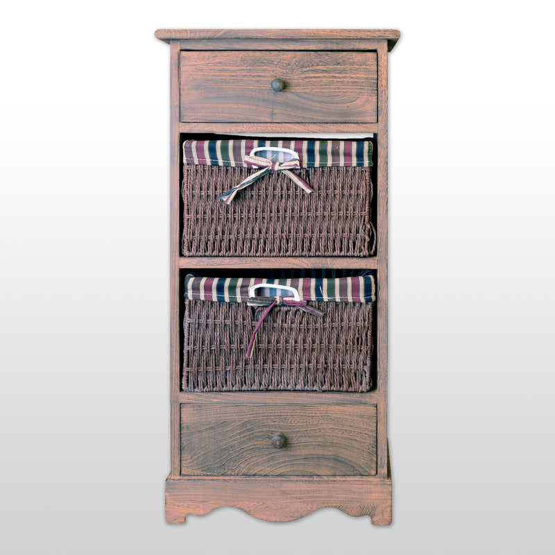 "Furniture - 32"" Wooden Storage Cabinet With 2 Drawers And 2 Rattan Baskets In Antique Walnut Finish"