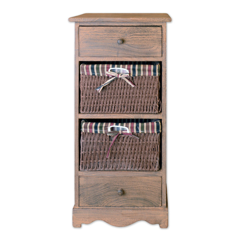 4 Tier Storage Cabinet With 2 Drawers 2 Wicker Baskets 32 Tall In Antique Walnut Finish