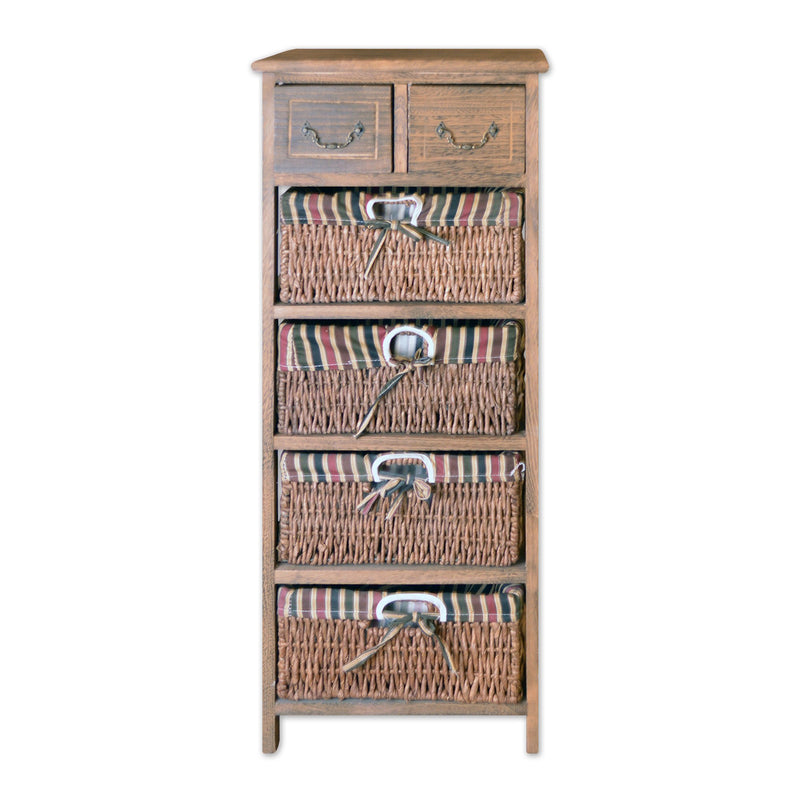 "Furniture - 36"" Wooden Floor Cabinet With 2 Drawers And 4 Rattan Baskets In Antique Walnut Finish"