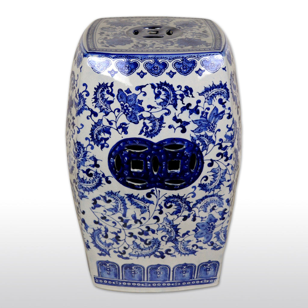 "Furniture, Featured Products - 18"" Chinese Square Porcelain Garden Stool With Floral And Decorative Design"