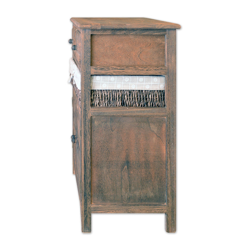 "Furniture, Featured Products - 27"" Wooden Side Cabinet With 2 Doors 2 Drawers And 1 Rattan Basket In Antique Walnut Finish"