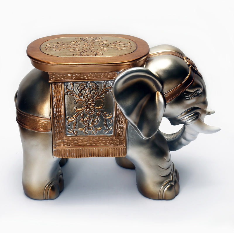 Furniture, Statues - Cast Resin Standing Elephant Footstool In Champagne Tone