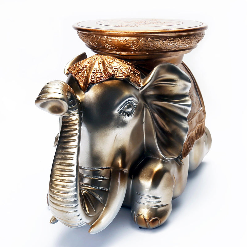 Furniture, Statues, Featured Products - Cast Resin Lying Elephant Footstool In Champagne Tone