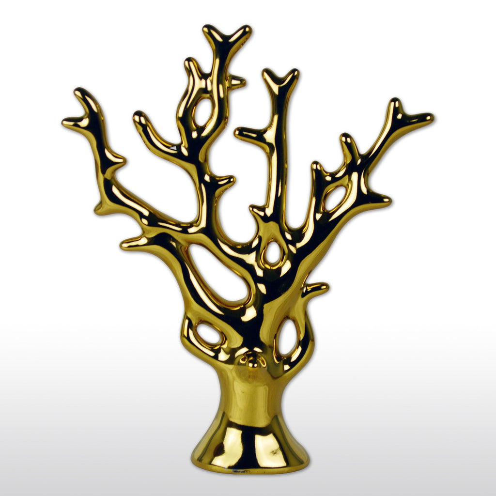 "Statues - 11"" Chinese Feng Shui Porcelain Money Tree In Gold For Wealth Luck"