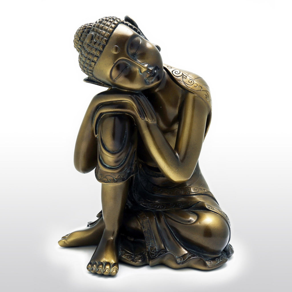 "Statues - Cast Resin Napping Buddha Statue 10"" Tall In Bronze"