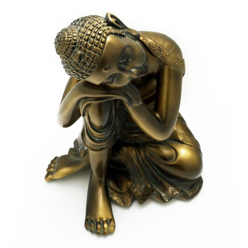Cast Resin Napping Buddha Statue 10 Tall In Bronze