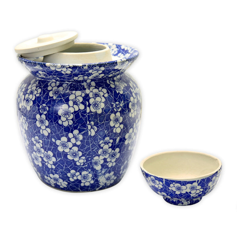 "Vases & Jars - 10"" Blue And White Porcelain Pickling Jar Plum Blossom Motif"