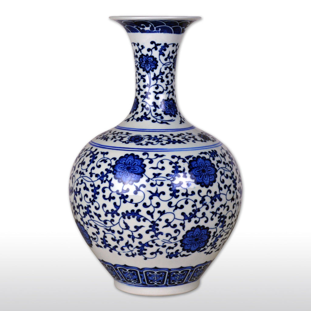 "Vases & Jars - 13"" Chinese Classical Blue And White Porcelain Vase Of Ming Dynasty Style"