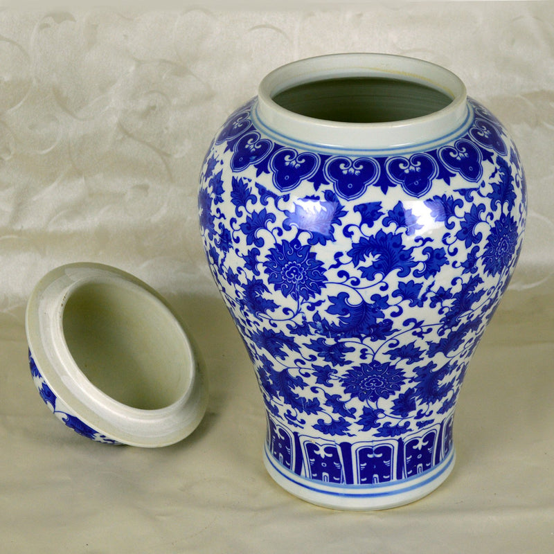 "Vases & Jars - 16"" Chinese Blue And White Porcelain Temple Jar Reproduct Of Ming Dynasty Model"