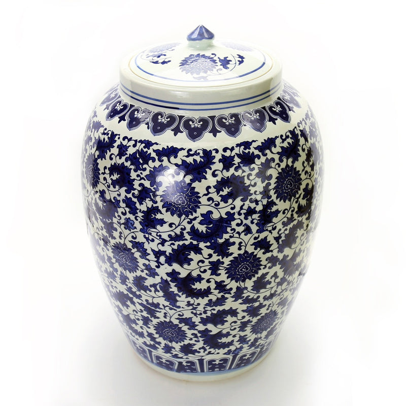 "Vases & Jars - 20"" Chinese Blue And White Porcelain Floor Jar Floral Motif"