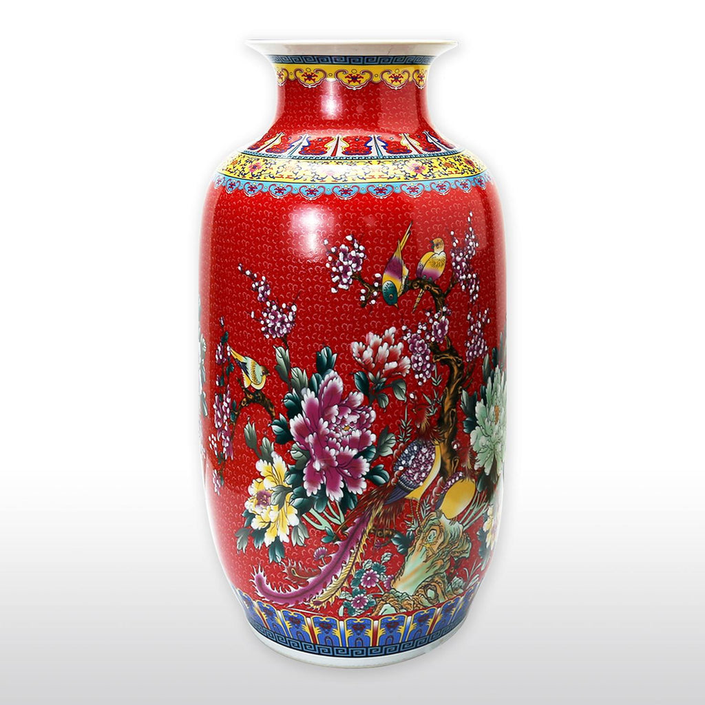 "Vases & Jars - 23"" Large Chinese Porcelain Barrel Vase With Flower And Bird Painting In Red"