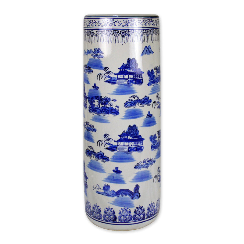 "Vases & Jars - 24"" Blue And White Porcelain Umbrella Stand In Landscape Painting"