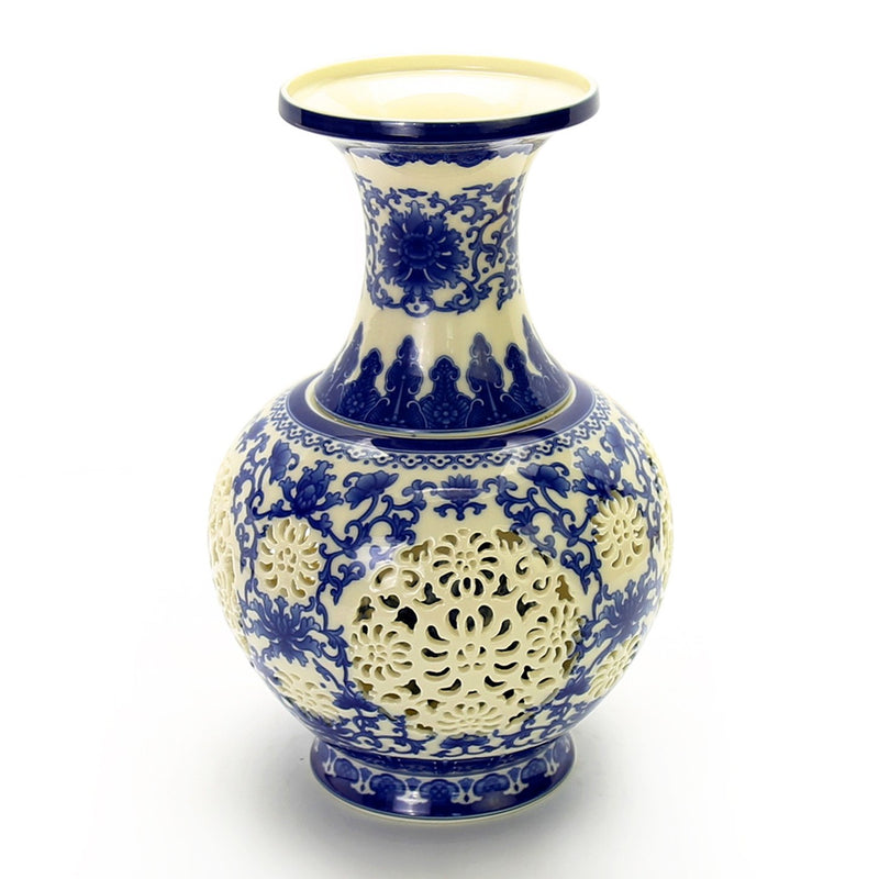 "Vases & Jars - Chinese Blue And White Porcelain Vase With Decorative Hollow Carvings 11"" By 6.6"""