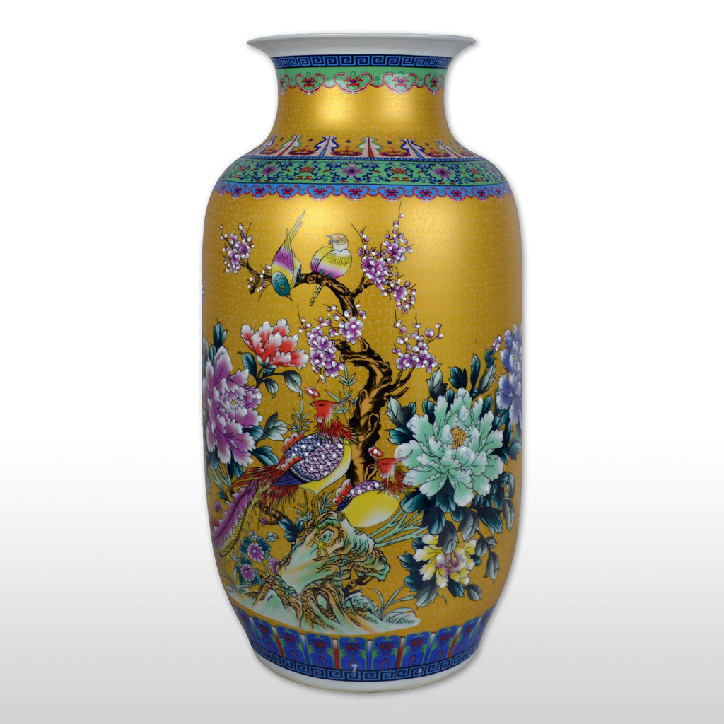 "Vases & Jars, Featured Products - 23"" Large Chinese Porcelain Barrel Vase With Flower And Bird Painting In Golden Yellow"