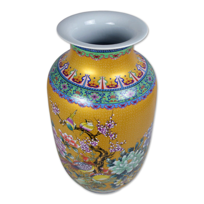 Oriental Porcelain Floor Vase In Floral And Bird Motif 23