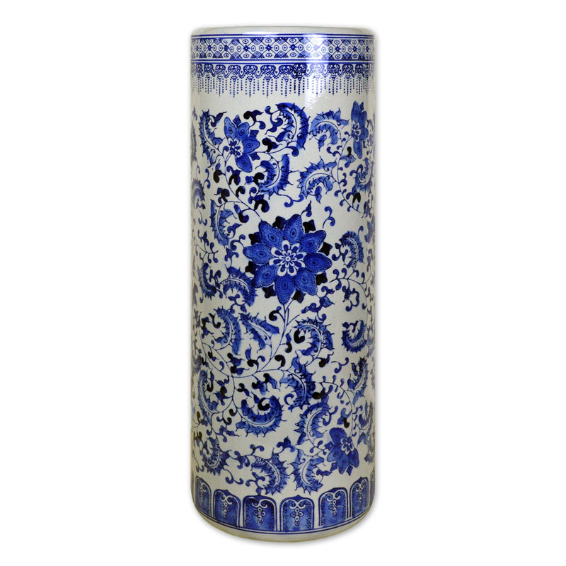 "Vases & Jars, Featured Products - 24"" Chinese Classic Blue And White Porcelain Umbrella Stand"
