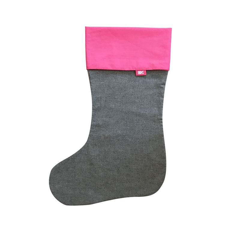 Grey & Hot Pink Christmas Stocking