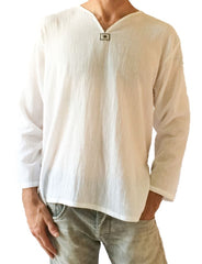 men's cotton shirt white yoga