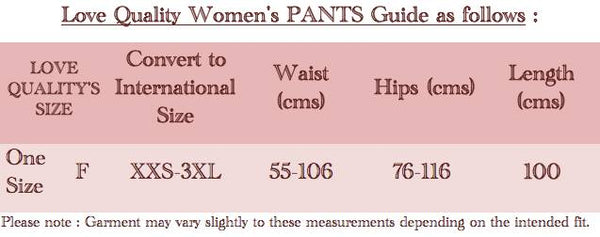 International Size Guide Ladies Pants