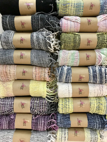 Love Quality cotton scarves hand woven naturally dyed