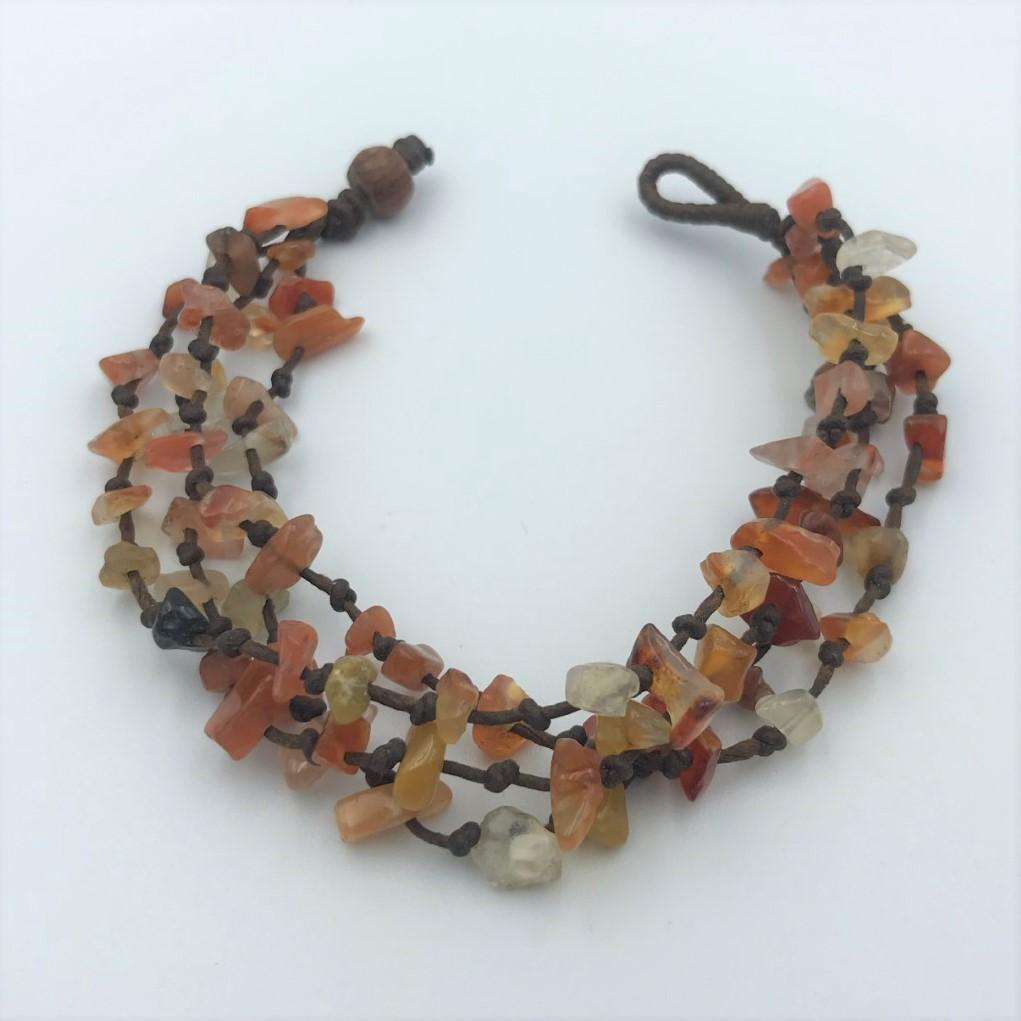 Bracelets - Orange Rough Stone Hippie Bracelet
