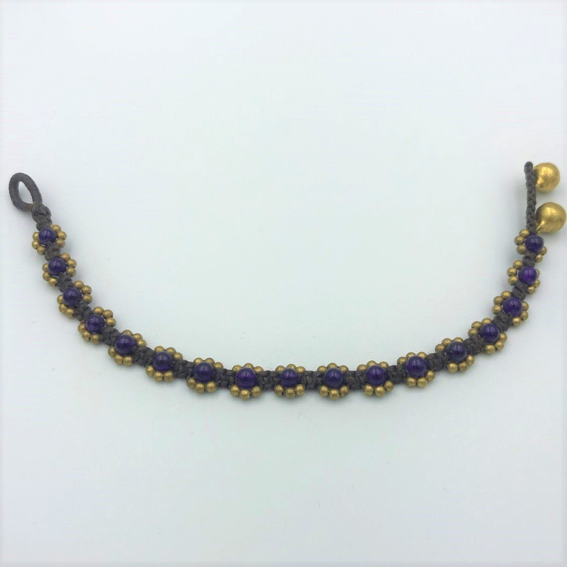 Bracelets - Purple Stone Pleated Hippie Bracelet
