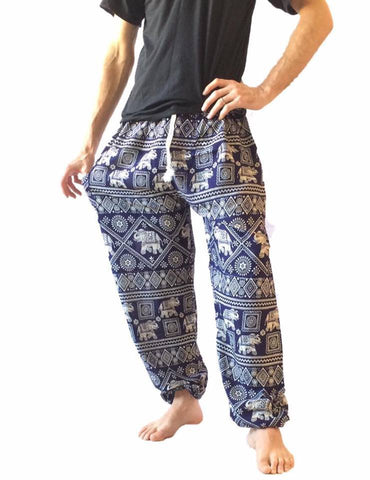 Men's Wear - Men's Blue Baggy Harem Pants - Elephant Print
