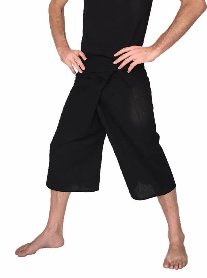 Men's Wear - Men's Fisherman Pants Shorts Black 100% Cotton