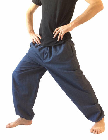 Men's Wear - Men's Navy Cotton Baggy Hippie One Size Pants