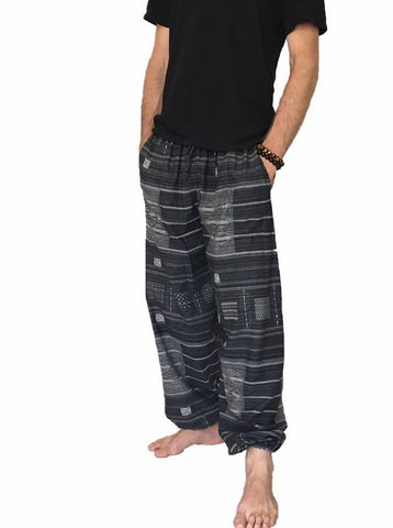 Men's Wear - NEW Men's Black Printed Cotton Baggy Hippie One Size Pants
