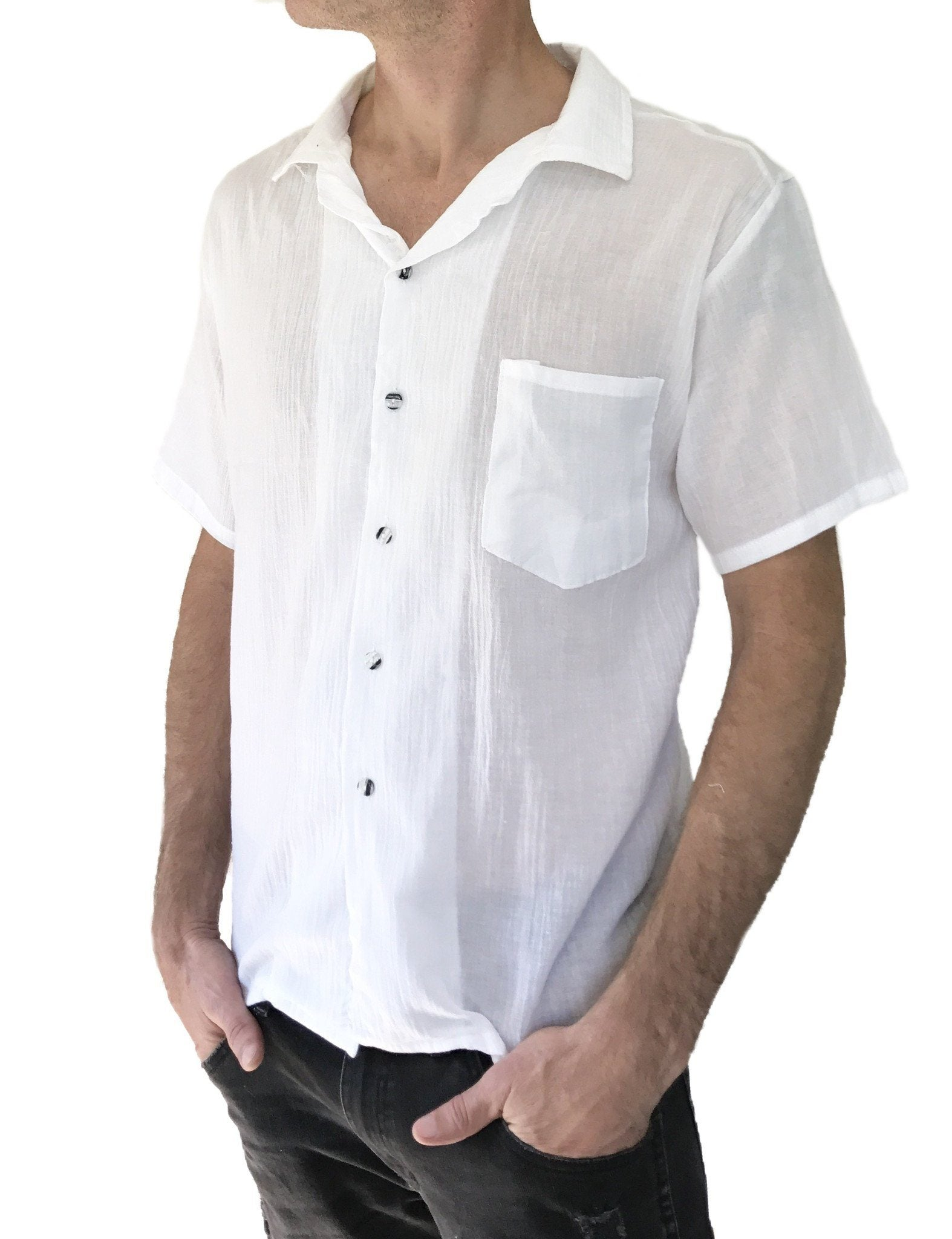Shirt - Men's Light Weight 100% Cotton Button Thai Hippie Shirt