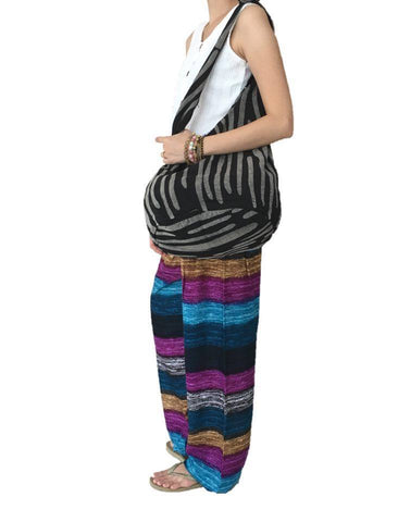Woven Hippie Bag - Printed Thai Hippie Yoga Bag Cotton Black Zebra