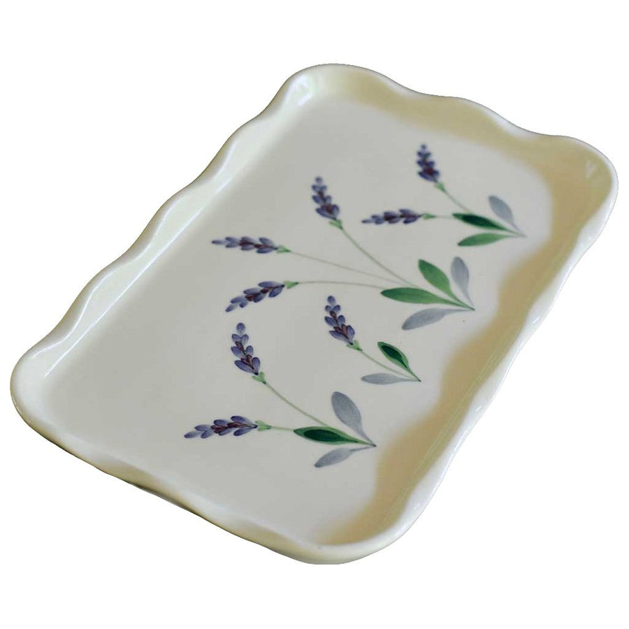 Stoneware Rectangular Serving Tray with Handpainted Lavender Design Made in USA